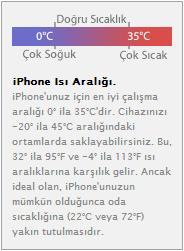 iphone ısı aralığı